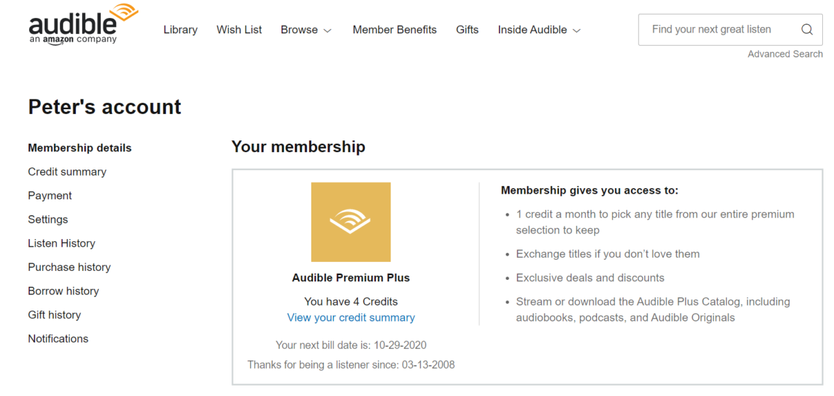 audible premium plus membership